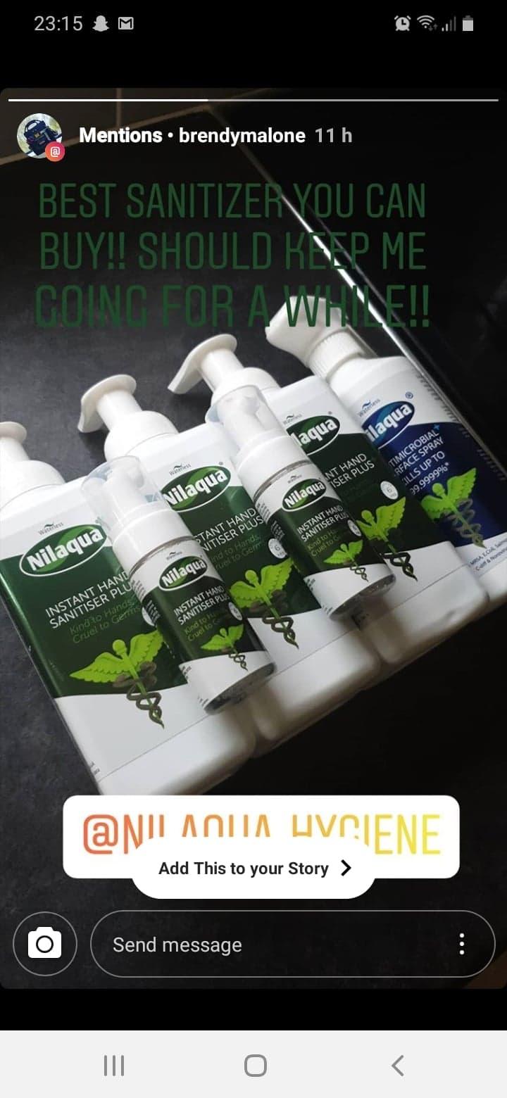 Nilaqua alcohol free hand sanitiser and surface