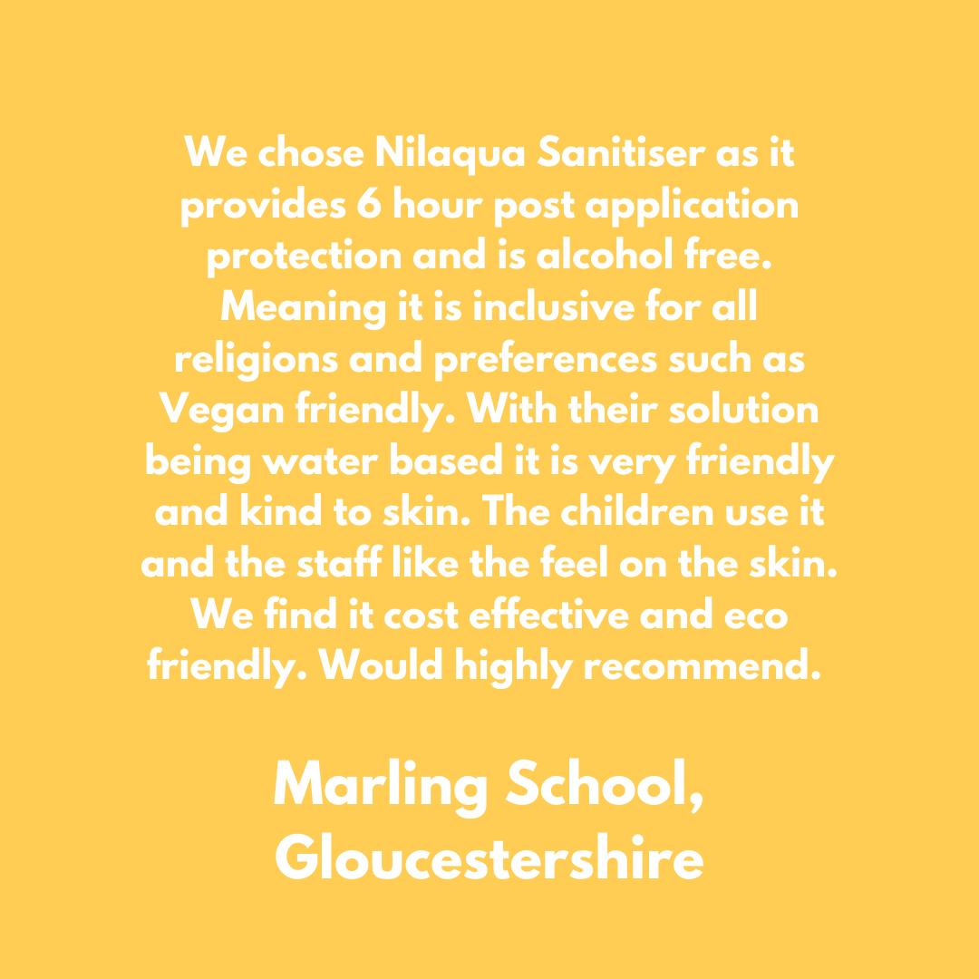 Marling School Gloucestershire uses Nilaqua alcohol-free hand sanitiser